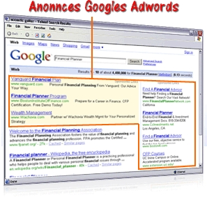 Exemple d'afficahge d'annonces Google Adwords